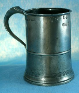 Pewter Quart Tankard Measure by Joseph Morgan Co Bee Hive Mid Victorian