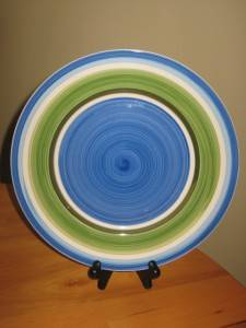 Joshua Maxwell Studio Dinner Plate Blue Green White Mod