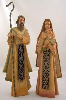 Wood Carved Inspired Holy Family Set Mary Joseph Baby Jesus Nativity Statue