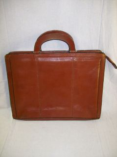 Vintage Full Grain Leather Briefcase Brown Korea Made Used