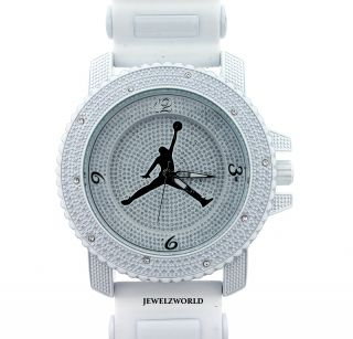 Iced Out White Jordan Air Jumpman Logo Silicone Watch