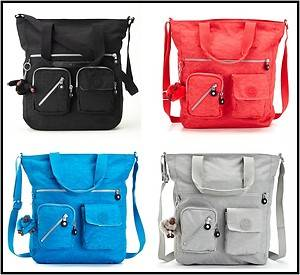 Kipling Joslyn Tote Bag TM5146 Black Deep Neon Pink Bright Turquoise Silver Grey
