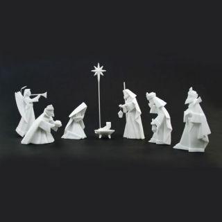 White Porcelain Origami Nativity 9 Piece Set One Hundred 80 Degrees Gift Box NEW