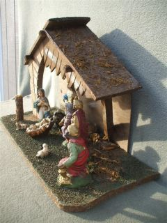 Vintage Nativity Scene Set Stable with 10 Paper Mache Figurines Fontanini Italy