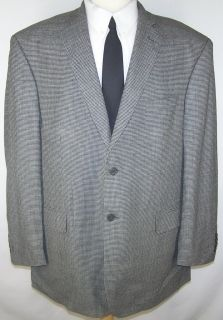48R Joseph Feiss 100 Wool Black Gray Tweed Sport Coat Jacket Suit Blazer Mens