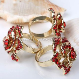 1P Golden Red Crystal Rose Cocktail Adjustable Ring 6 Rhinestone Gift
