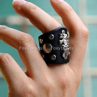 Men Women Punk Silvery Skull Pirate Rivet Stud Black Leather Ring Rock Gothic