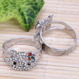 1P Rainbow Crystal HelloKitty Adjustable Fashion Ring S9