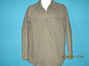 Levi Strauss 100 Cotton Sherpa Lined Olive Green Shirt Jacket L Large