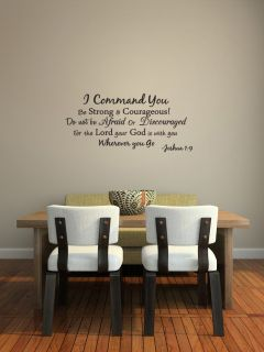 I Command You Vinyl Quote Wall Decal Joshua 1 9 God Scripture Bible Word J251