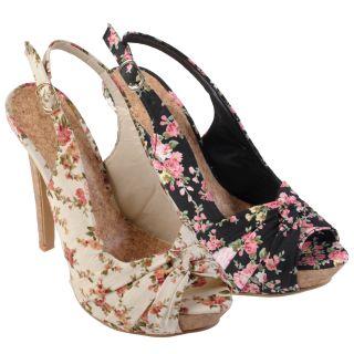 Journee Collection Women's 'Blythe 2' Floral Peep Toe Slingback Pumps
