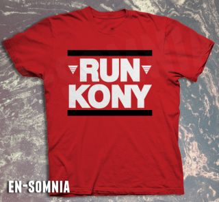 Run Kony 2012 DMC Famous T Shirt Invisible Children s XL Red White Black