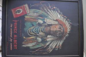 Chief Joseph Prince Albert Tobacco Tin Sign Antique