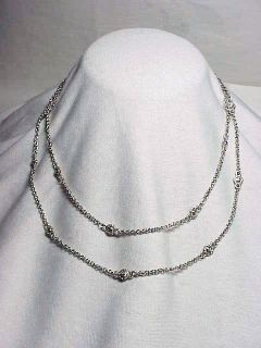 "Judith Ripka Sterling Silver Diamonique Station Necklace 36"""