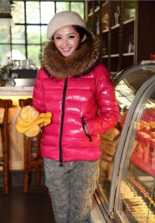 New Women with Real Raccoon Fur Hooded Duck Down Short Jacket Size M J67