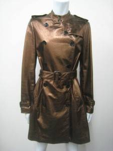 BURBERRY ULTRA LUXE BRONZE DOUBLE BREASTED BELTED LEATHER TRENCH COAT J106 6