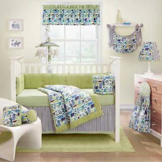 3pc Cute Green Blue Purple Jungle Safari Animal Mosaic Baby Boy Crib Bedding