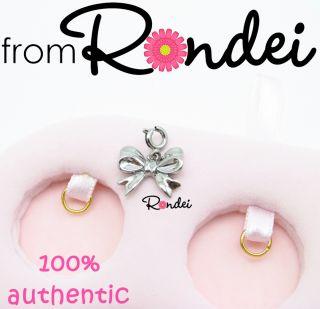 Authentic Juicy Couture Bow Mini Silver Charm for Bracelet Necklace Z500