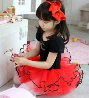 Black Red Girl Short Sleeve Party Leotard Ballet Tutu Dance Skirt Dress SZ5 8Y