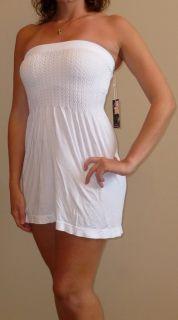 Miss Juli Strapless White Coverup Mini Dress s M L
