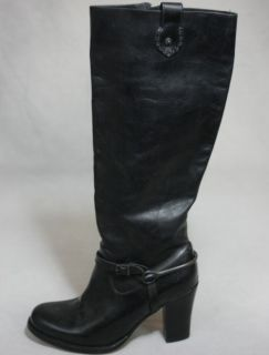 FRYE Julia Spur Inside Zip Boots Black Leather Block Heel New 498 Womens 10