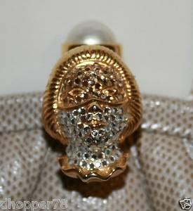 Judith Leiber ♥ Snakeskin Handbag Clutch ♥ The Mask Closure ♥ Signed