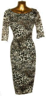 New Animal Leopard Print Stretch Lace 3 4 Sleeve Pencil Wiggle Dress