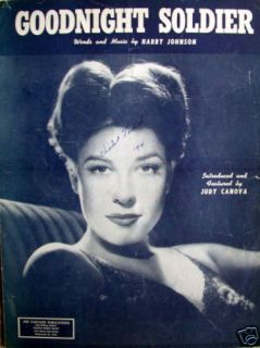 Sheet Music Goodnight Soldier 1943 Judy Canova Piano Vocal