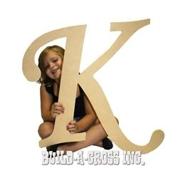 Unfinished Wooden Letter K 24 Big Paintable Cutout Craft Letters
