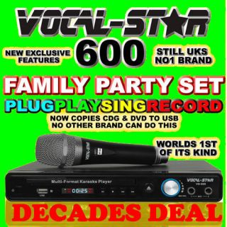 Vocal Star 600 CDG DVD USB Karaoke Machine Player Microphone 540 Songs