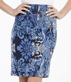 Karen Kane M Blue Print Wallpaper Pencil Skirt MSRP $98