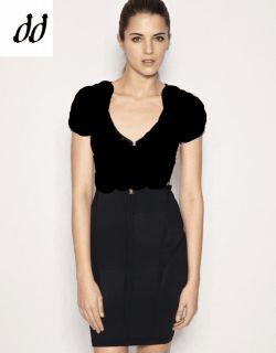 Karen Millen Black Knit New Bodycon Logo Dress Size 10 12 Black