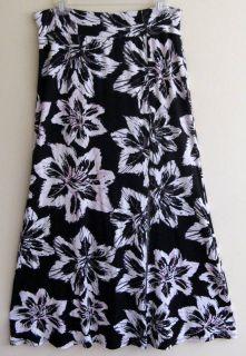 Karen Kane   M   Black/cream/grey/pink flower print ankle length skirt