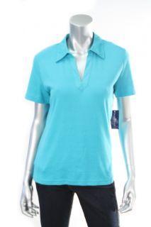 Karen Scott Seascape Blue Womens Short Sleeve Polo Top Sz S