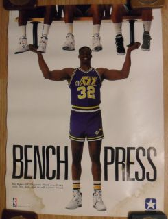 NBA Basketball Karl Malone Utah Jazz Converse Shoes Poster Bench Press