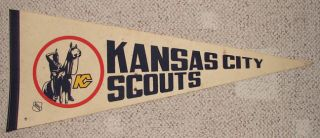 RARE 1970s Kansas City Scouts Defunct NHL Hockey Team Pennant Became