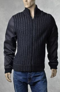 DKNY Donna Karan Mens Grid Rider Black Sweater Jacket Coat Sz L Large