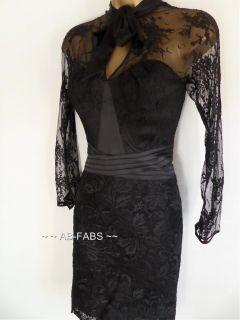 Karen Millen Black Lace Satin Embroidered Corset Evening Cocktail