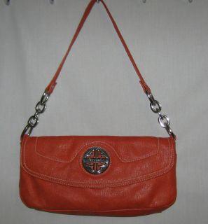 Kate Landry Orange Leather Shoulder Bag Handbag Navy & White Polka Dot