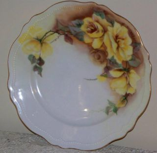 Antique O EG Royal Austria Vintage 83 4 Decorative Plate Yellow Roses