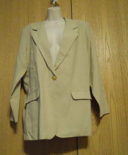 Nice Kathie Lee Khaki Tan 1 Button Front Blazer Suit Jacket Misses X