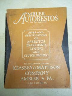 Vtg Ambler Autobestos Catalog Keasbey Mattison Asbestos Brake Lining