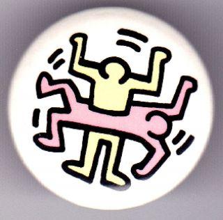 Keith Haring Men 2 Color RARE Pin Back Button BADGE1980s Original