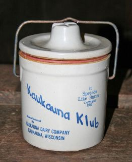 Antique Kaukauna Club Stoneware Cheese Crock Wisconsin Cheese Head