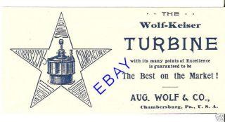 1894 Wolf Keiser Grist Mill Turbine Ad Chambersburg PA