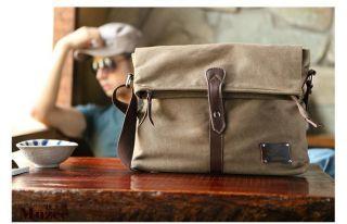 Canvas Mens Boys Shoulder Bag Leather Messenger Bag ME8819