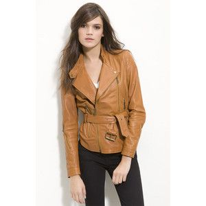 498 Kenna T Belted Leather Motorcycle Cognac Jacket L