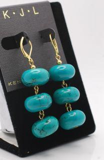 Kenneth Jay Lane KJL Simulated Turquoise Bead Dangle Earrings New