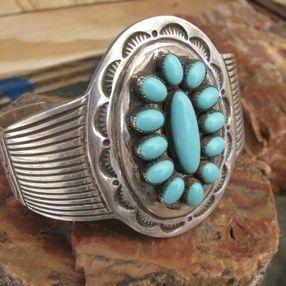 Navajo Emerson Kensal Heavy Turquoise Cluster Bracelet Sterling Silver