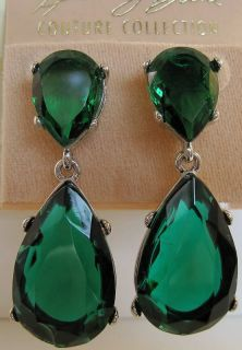 Kenneth Jay Lane Emerald Color Crystal Tear Drop Rhodium Plated